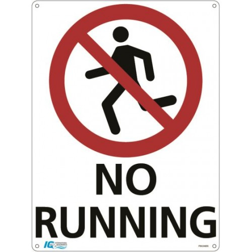 No Running Prohibition Sign