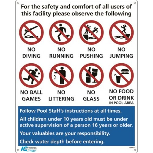 Pool Rules Sign - C