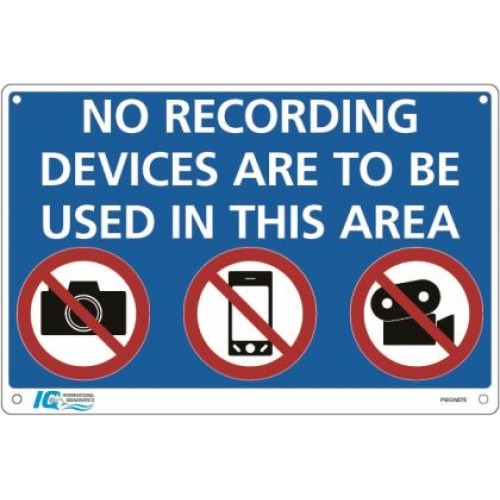 No Recording Devices Prohibition Sign